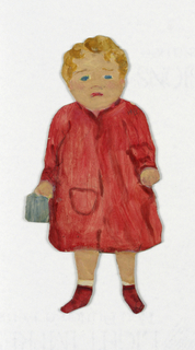 Paper doll of a female figure in a red dress.