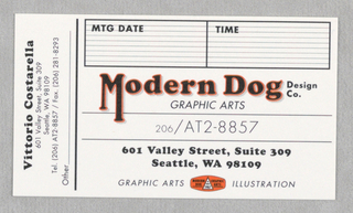 Print/business Card, Business Card: Modern Dog, ca. 1993