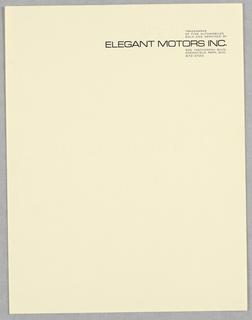 Letterhead, Elegant Motors, Inc.