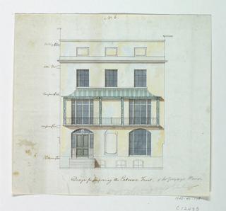 Front elevation of a house. Inscription in brown ink below image.