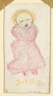 Young figure wrapped in a pink fabric with yellow bonnet.