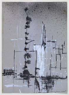 Vertical rectangle. Abstract design composed of black and white paint splashes and smears.
