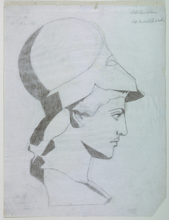 Vertical rectangle. Head of Athena (from a cast) seen in right profile. She wears a helmet.