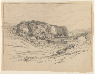Horizontal bird's eye view of a valley with a winding road, and a pond, and a wood in the central middle distance. Framing lines laterally and on top.