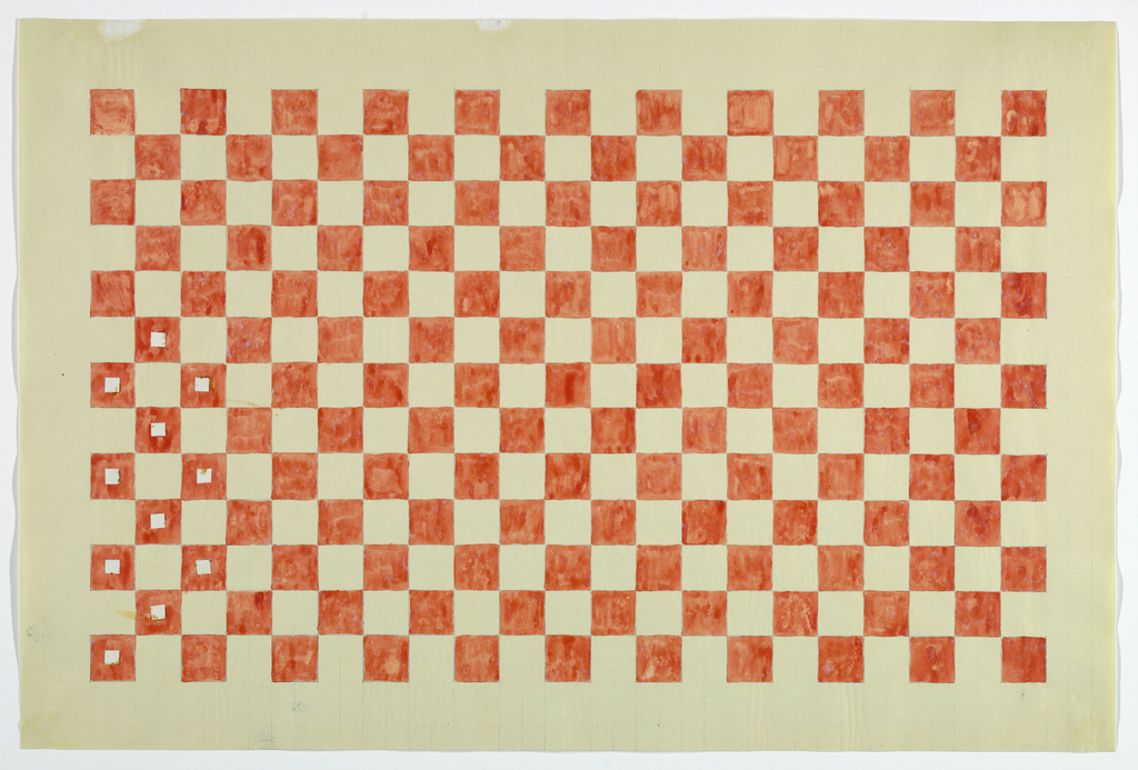 Checkerboard pattern of red squares, on white background. Eleven squares at lower left have white paper squares affixed to centers.