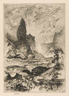 The lower falls are seen in the background. A river moves toward the left forground. Tree stump and vegetation at lower right. Printed in black ink.