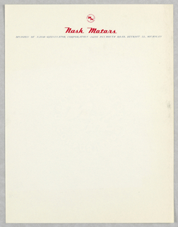 Letterhead with red text above: Nash Motors; and Nash Motors logo above this. In black text, below this: DIVISION OF NASH-KELVINATOR CORPORATION . 14250 PLYMOUTH ROAD, DETROIT 32, MICHIGAN.