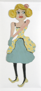 Paper doll of a female figure in a green dress.
