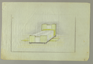 Design for bed showing headboard consisting of 5 vertical panels. From left to right, a privacy panel, a square panel, a lower center panel, another square panel followed by a privacy panel.  The footboard echoes the design of the headboard.  The bed sits on four blocks decorated with a simple carved curl motif.  Floor mats on either side of the bed, coordinate with the rounded elements of the bed and the green accent color.