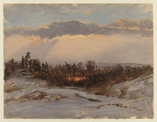 Horizontal distant view of a small snow-covered valley with a copse of trees. A band of  lavender clouds streches across the sky and sun rays project downward.  A pond in the middle distance, amongst the trees, reflects sunlight.