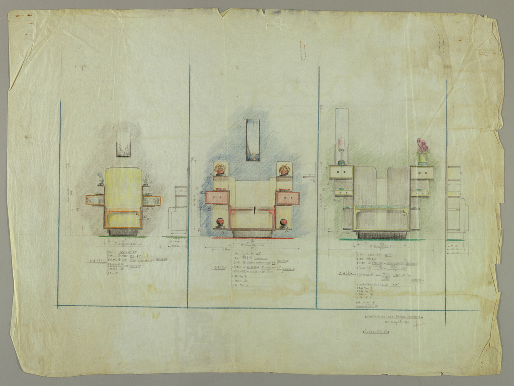 """Left: Side view of bench on base, large upright panel above flanked by two cantilevered bookcase boxes. Small leafy arrangements in containers on top of bookcases. Non-descript drawing above, on wall.  Inscription: lower, center, .C.#152 [Dimensions of sections listed.] Center: Bench and back panel flanked by a tall divided box. Upper box with leafy arrangements on shelf, center double door box extending beyond side of unit, and tall open box with bowl on block at bottom. Non-descript drawing above, on wall.  Inscription: lower center. C.#153.[Dimensions of sections listed.] Right: Bench showing tall, rounded back panels and shorter center board. Side arrangement consists of double door box at top, open box with single drawer below, and long open divided box at bottom. A lamp stands in front of a tall mirror on top of unit (at left). A leafy arrangement in container on top of unit (at right). To right of drawing, a side elevation plan of unit.  Inscription: lower center, C. #154 [Dimensions of section listed] Below drawing: COMBINATIONS FOR BRIDGE FURNITURE/ NY MAY 9th 1933   JB (initials)/SCALE: 1""""=1'0"""""""