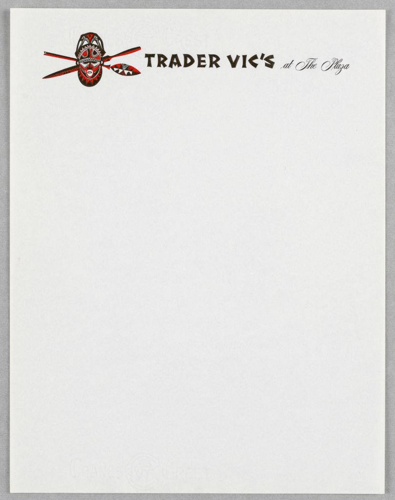 Letterhead, Trader Vic's