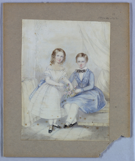 Drawing, Portrait of a Girl and a Boy, 19th century