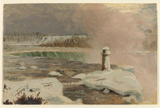 Horizontal views of Terrapin Point and the Horseshoe Falls covered with snow, as seen from Goat Island