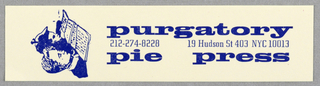 On narrow sheet of white paper, design for a business card printed in letterpress with blue ink. At left, an illustration of a boy and girl reading books or magazines. At right, business name, address, and phone number. Printed in blue ink, right: purgatory / 212-274-8228 19 Hudson St 403 NYC 10013 / pie press