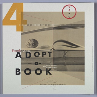 "Poster, Poster for Fourth Annual ""Adopt-a-Book,"" California College of Arts and Crafts, April 20, 1992, 1992"