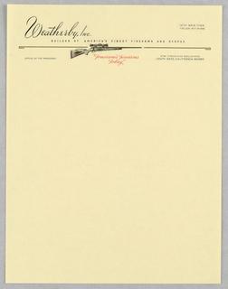 Letterhead, Weatherby, Inc.