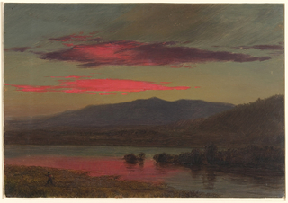 A view across a body of water toward the Catskill Mountains in the distance, at sunset. The brilliant red clouds glow from the setting sun and are reflected in the water below. A small figure walks at left.  Verso: Sketches of architectural details (sculpture) and a baby.