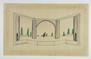 Horizontal rectangle. Stage setting composed of three archways with doors on either side. Three figures in center of stage.