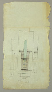 Tall side table on base consisting of lower section showing two openings for books.  Upper section shows a tall conical element rising through the center of two tiered shelf.  Sketch of elevation below drawing. Dimensions throughout.
