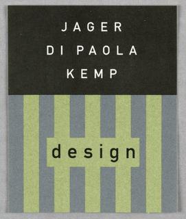 Label, Jager Di Paola Kemp, 1993