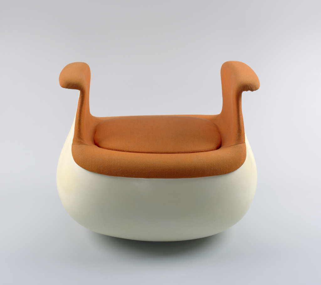 Globular, white fiberglass base rising to out-turned arms on left and right; arms, seat, and roughly rectangular seat cushion covered in bright orange woven wool upholstery.