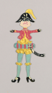 Paper doll of a male figure dressed in a soldier's uniform with a sword.