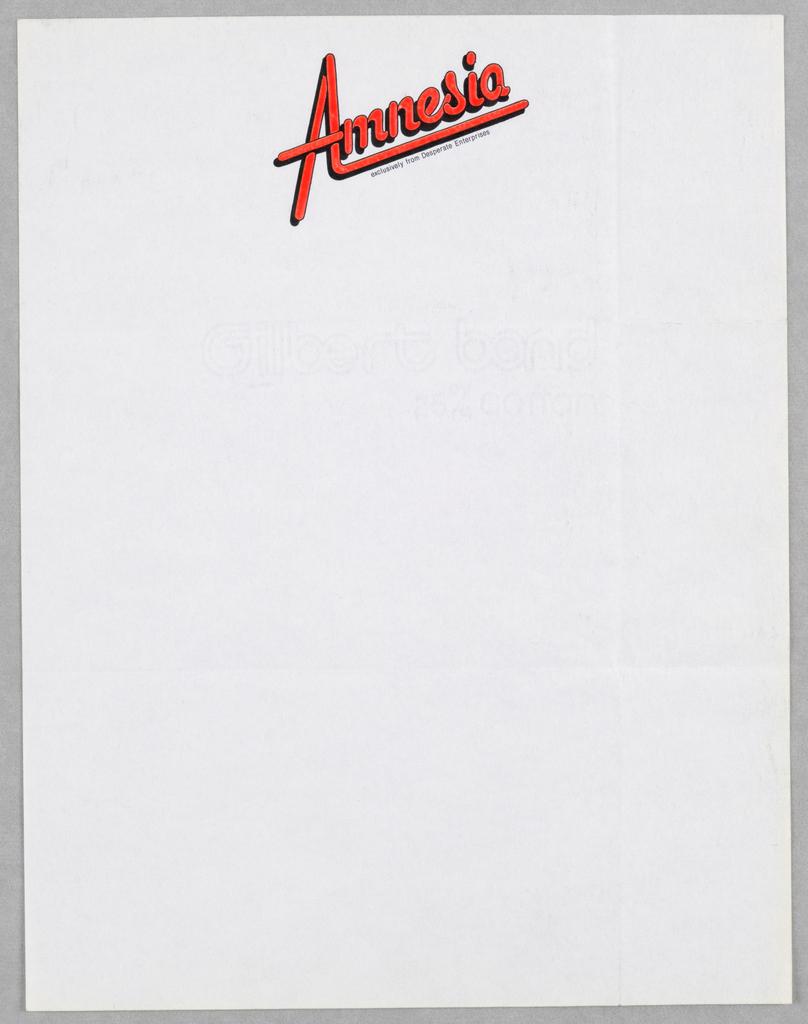 Letterhead, Amnesia/Exclusively from Desperate Enterprises