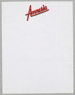 Letterhead, Amnesia/Exclusively from Desperate Enterprises