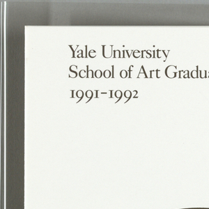 Five page brochure on white paper that opens like book. Center of cover page, bull's eye symbol in red, white, and dark gray. Black and white bull dog, lower right. Imprinted in dark gray ink, cover page, upper left: Yale University / School of Art Graduate Program: / 1991-1992. First page: text blocks with different headings describe mission of program, M.D.A. programs of study, who can qualify, applications, tuition, and financial aid. Second page: text blocks describe more on financial aid, additional resources, inquiries, the specific departments: graphic design, painting and printmaking. Third page: text blocks describe more on painting and print making, photography, sculpture, and visiting artists / lecturers.  Fourth page: name of program, upper center; same bull's eye design as cover, with a black and white bulldog in center of bull's eye, center.  Verso: all pages blank.