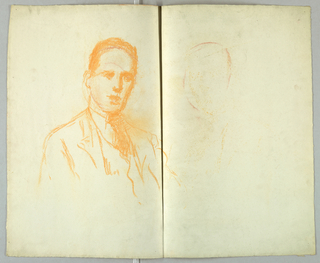 Sketch of a male figure wearing a jacket and tie.