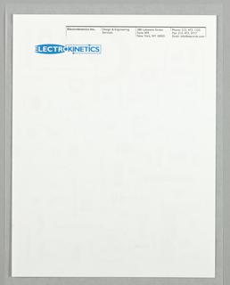 Letterhead, Electrokinetics, ca. 1995