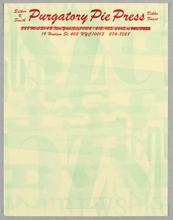 Pale yellow ground with allover pattern of green letterpress forms, some overlapping. Business name and contact information printed in red at top; an initial address printed over to obscure it.