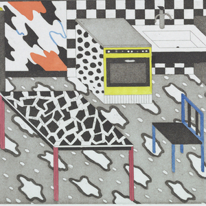 Design for a kitchen; flooring in gray and white cloud pattern; walls in orange, black and white, and checkers; oven, refrigerator and table in animal patterns.