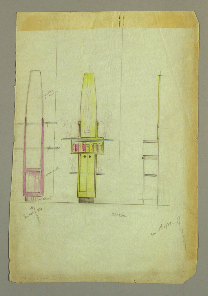 Left: Sketch drawing of tall side table showing open shelves and box below, perhaps for books.  Unit rests on block base.  Center: Tall side table consisting of two narrow vertical doors on bottom, at center a horizontal open box showing a display of books, and a tall conical element flanked with brackets rising above. Sketches of vases of flowers on surfaces.  Right: Side view of center table.