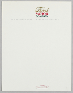 Letterhead, Ford Motor Co., The American Road
