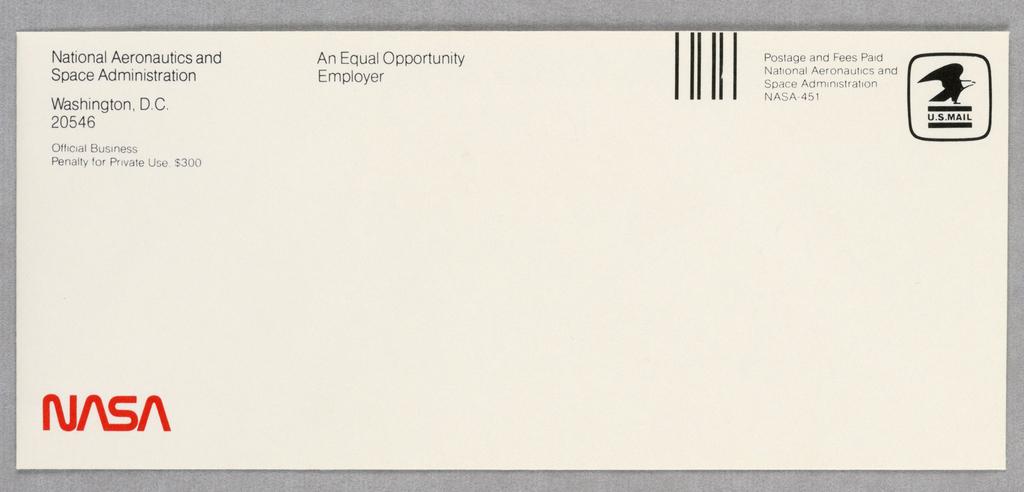 Envelope, NASA letterhead, red typo, 1974