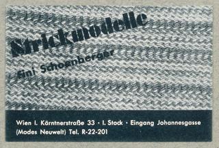 Business Card, Strickmodelle, fini Schoenberger, Wien