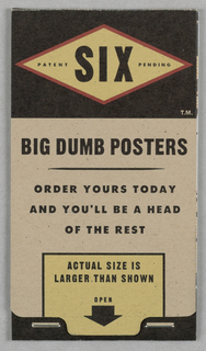 Print/postcard Booklet, Booklet:  Six Big Dumb Po, ca. 1980–95