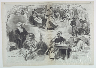 A series of four vignettes, showing women assisting in the war. In upper center, women sewing; at upper right, women washing; at lower left, a nun praying with a man; at lower right, a woman writing a letter, dictated by a wounded man.