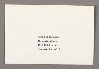 Off-white envelope with four lines of printed black text at lower center, address of Purim Ball Commitee at the Jewish Museum, New York, NY.