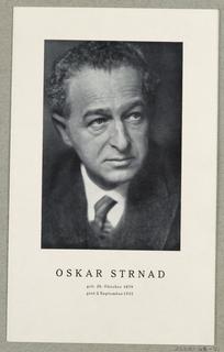 Booklet, Oskar Strnad  Geb. 26. Oktober 1879 / gest. 2. September 1935 [Oskar Strnad -  born October 26, 1879 / died September 2, 1935]