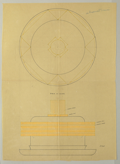 Circular centerpiece drawn in plan and elevation decorated with applied alternating bands of polished and matte vermeil protruding beyond the body indicated in yellow pastel ending in a short flared foot set in a circular rounded-edge base. Cylindrical matte vermeil finial surmounted on a polished vermeil plate of intersecting rectangles with intersecting, similar motif repeated on upper rim. Underdrawing of tureen in golden section.