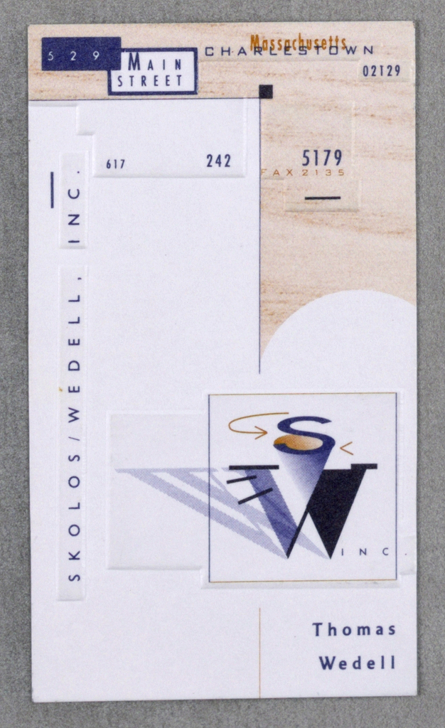 Business card for Thomas Wedell. Company logo at center right: S / W; numbers throughout with address and phone number. Left margin in black: SKOLOS / WEDELL, INC.