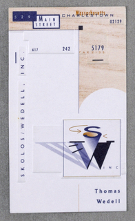 Business Card, Thomas Wedell, Skolos/Wedell, Inc.