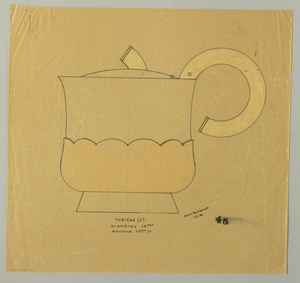 Pear-shaped teapot with flared spout drawn in elevation with an applied scalloped-edged lower body indicated in yellow pastel to be executed in vermeil. Hinged lid surmounted by a short stem-form finial and attached C-scroll handle indicated in white pastel to be executed in ivory. Raised on a short flaring foot. Placement of screws and hinge indicated by circles on lid and upper handle. Underdrawing in graphite of teapot in golden section.