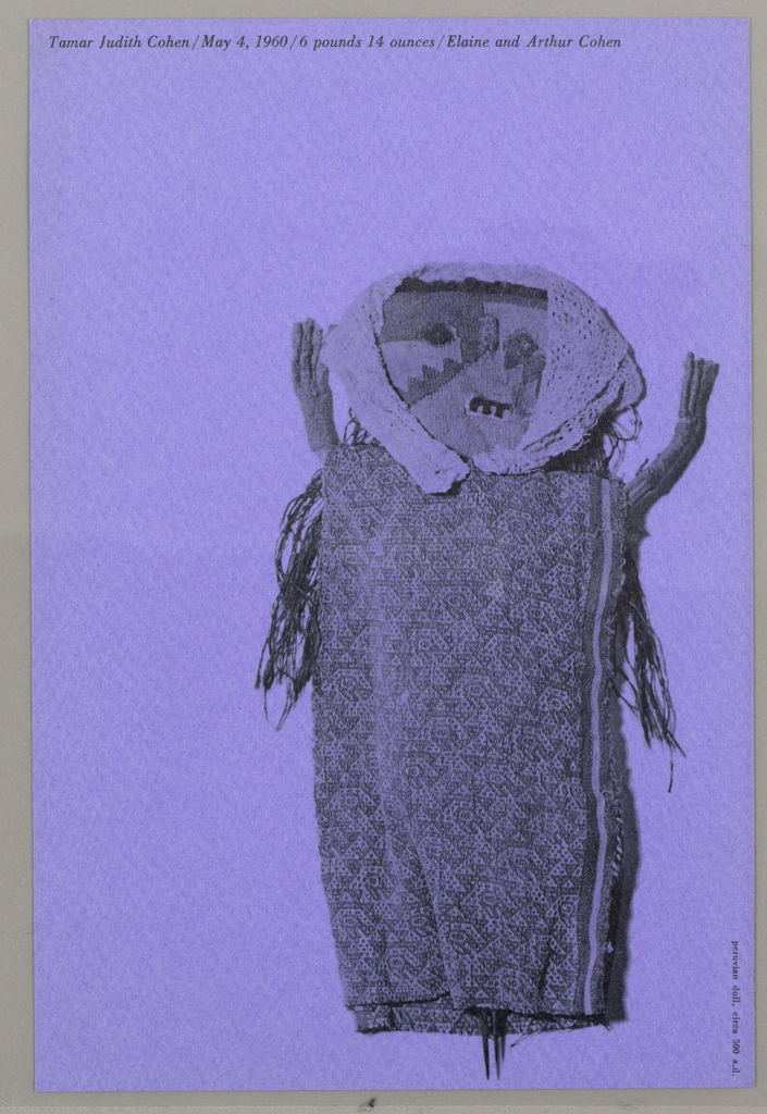 Photoillustration of hand-made, Peruvian doll printed in black on purple paper.  She wears a head scarf from which waist-length hair escapes.  She has three teeth and lays with her arms raised. Printed black text at upper left and at lower right.