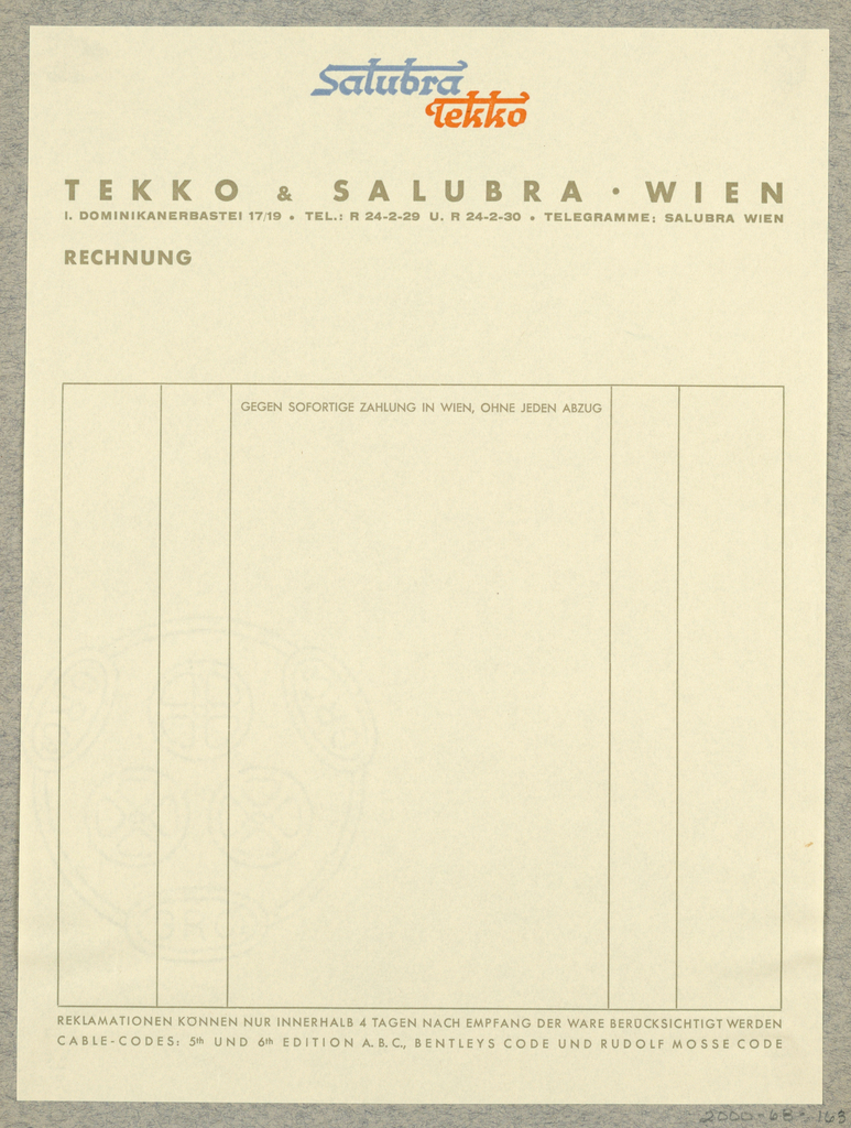 Letterhead, Salubra Tekko, Tekko & Salubra, Wien
