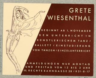 Postcard, Grete Weisenthal (dancer)