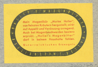 Business Card, Haller's Magenbitter